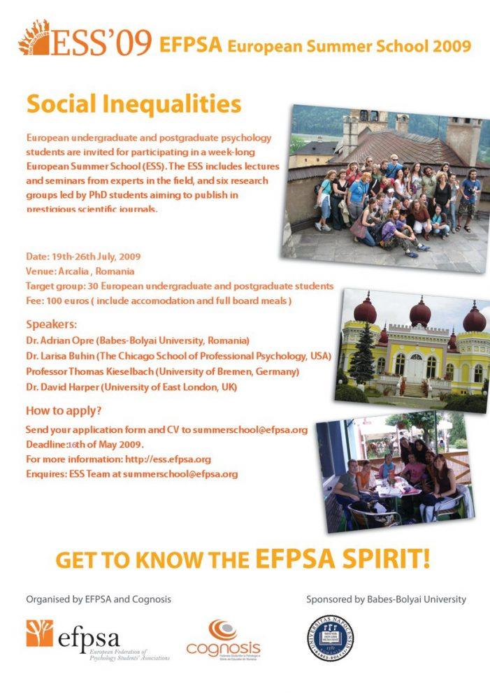 Şcoală Europeană de Vară pentru studenţii de la Psihologie