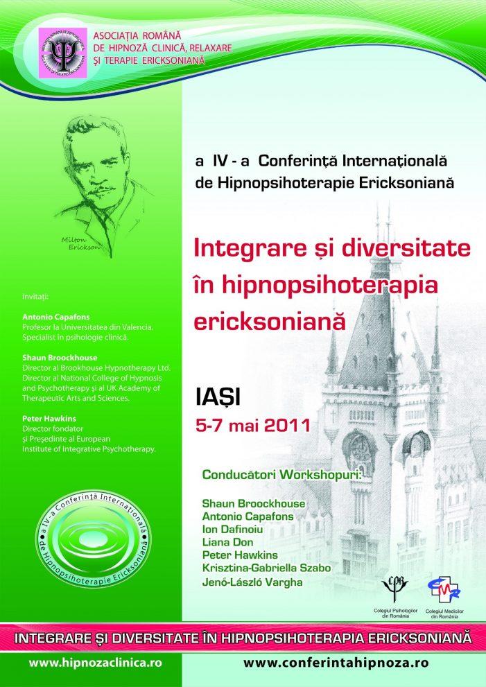A IV-a Conferinţă Internaţională a Asociaţiei Române de Hipnoză Clinică,  Relaxare şi Terapie Ericksoniană
