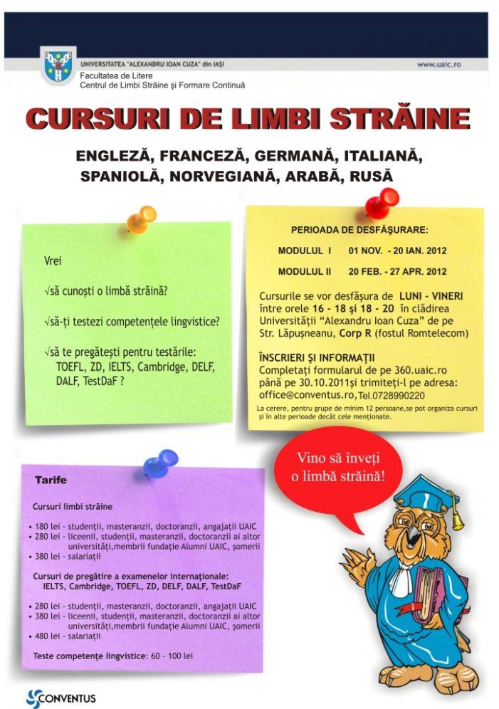 Cursuri de limbi straine – S-au prelungit înscrierile !