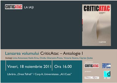 "Lansare de carte: ""CriticAtac – Antologie I (2010-2011)"""