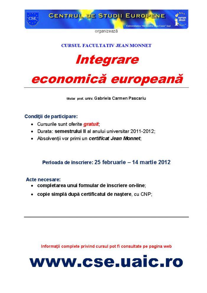 Curs gratuit de Integrare economică europeană