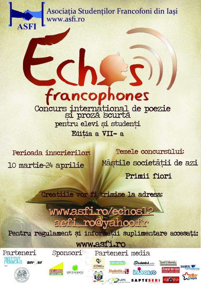 Echos Francophones – Concurs internațional de poezie și proză în limba franceză