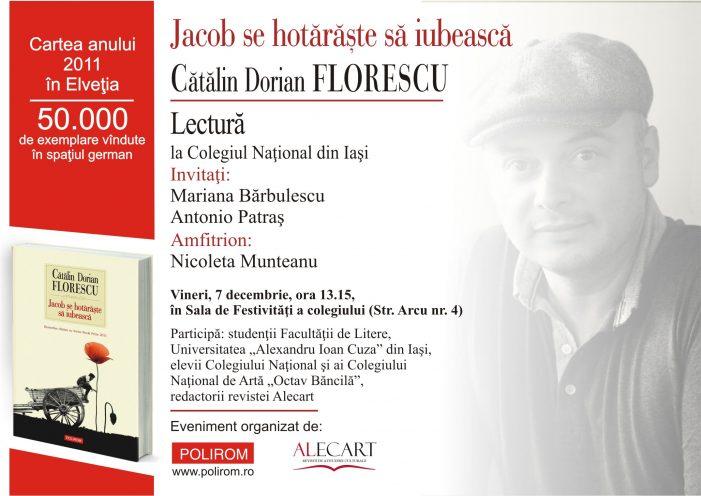 Scriitorul Cătălin Dorian Florescu revine la Iași