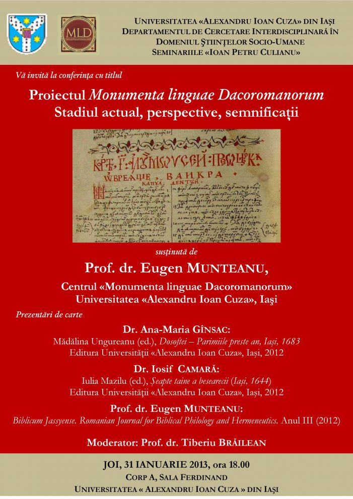 Conferință dedicată Proiectului Monumenta linguae Dacoromanorum