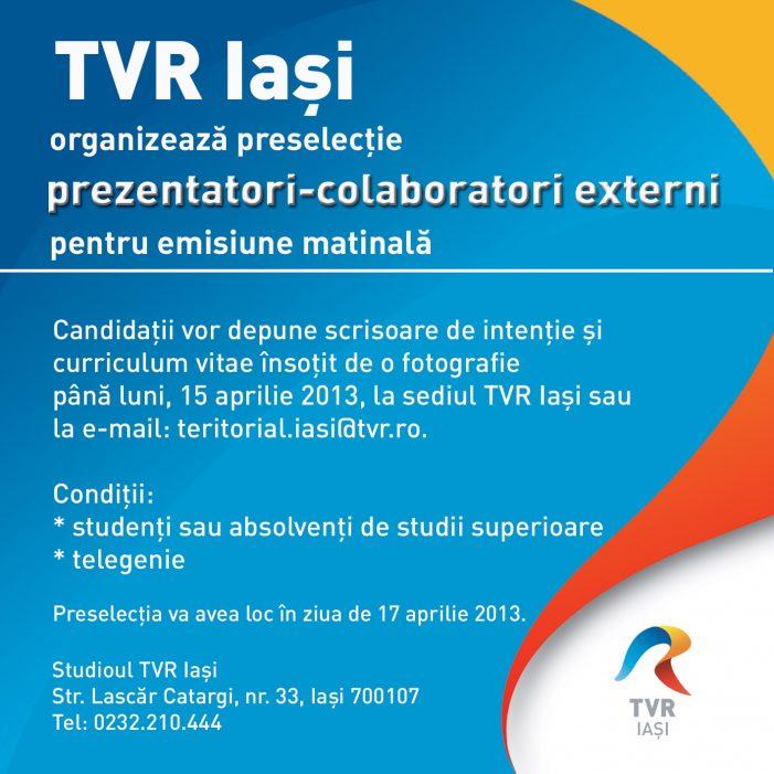 TVR Iaşi caută colaboratori