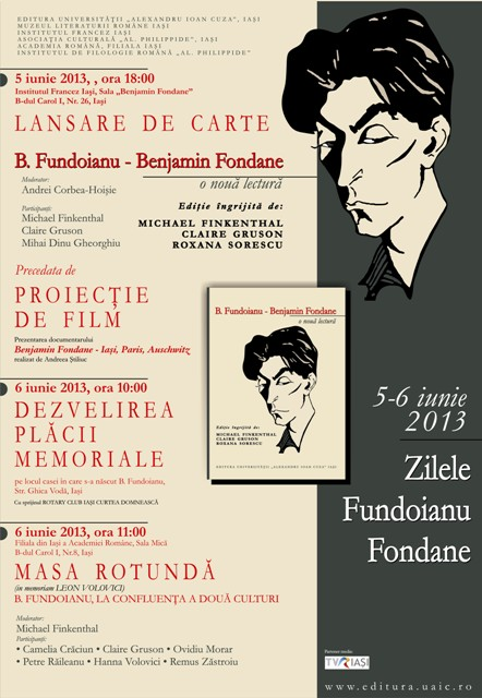 """Lansarea volumului """"B. Fundoianu – Benjamin Fondane: o nouă lectură"""""""