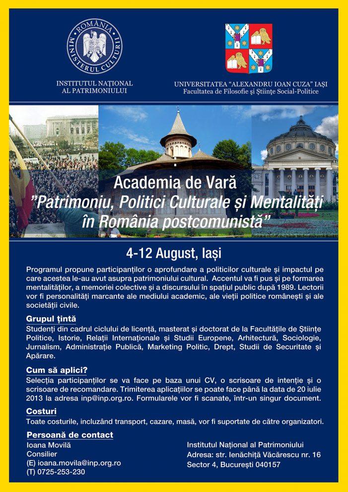 """Academia de Vară """"Patrimoniu, Politici Culturale și Mentalități în România postcomunistă"""""""