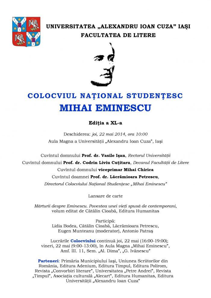 """Colocviul Naţional Studenţesc """"Mihai Eminescu"""", Ediţia a XL-a"""