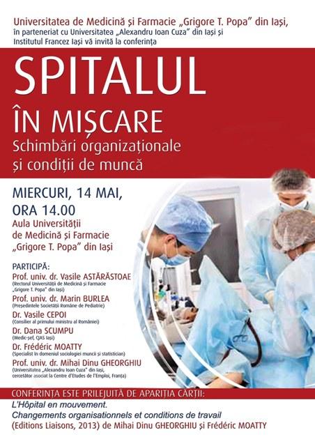 """Conferință și lansare de carte – ,,Spitalul în mișcare- Schimbări organizaționale și condiții de muncă"""""""