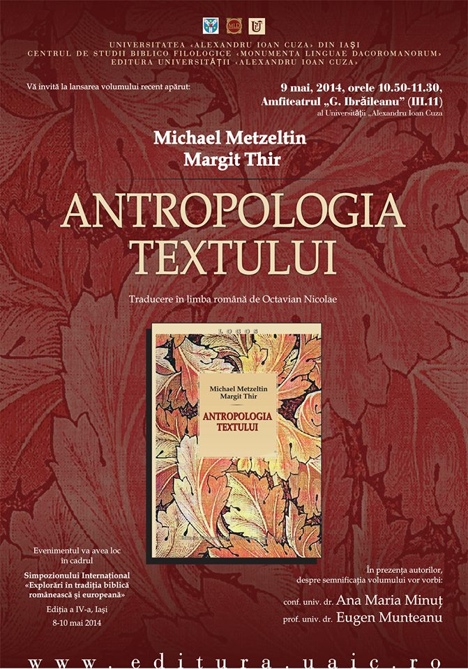 """Profesorul Michael Metzeltin vine la Iaşi pentru lansarea volumului """"Antropologia textului"""""""
