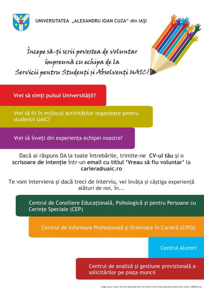 Serviciile pentru Studenți din Universitate caută voluntari