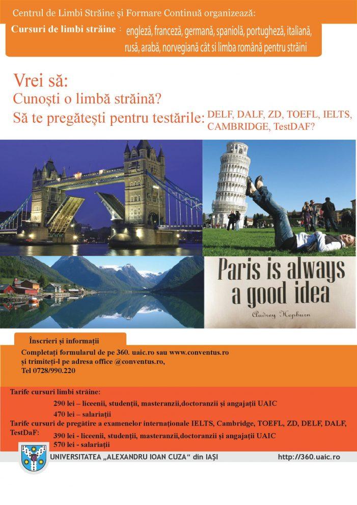 Înscrieri pentru cursuri de limbi străine