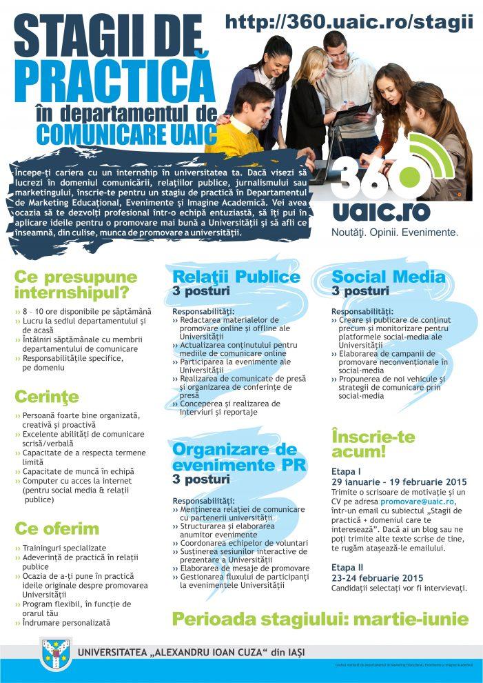 Stagii de practică în Departamentul de Comunicare al UAIC