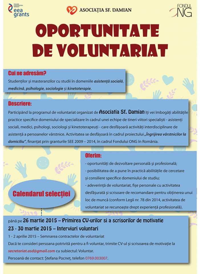 Oportunitate de voluntariat