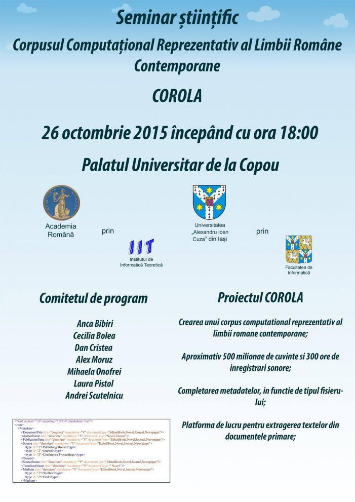 Facultatea de Informatică organizează seminarul științific – CoRoLa