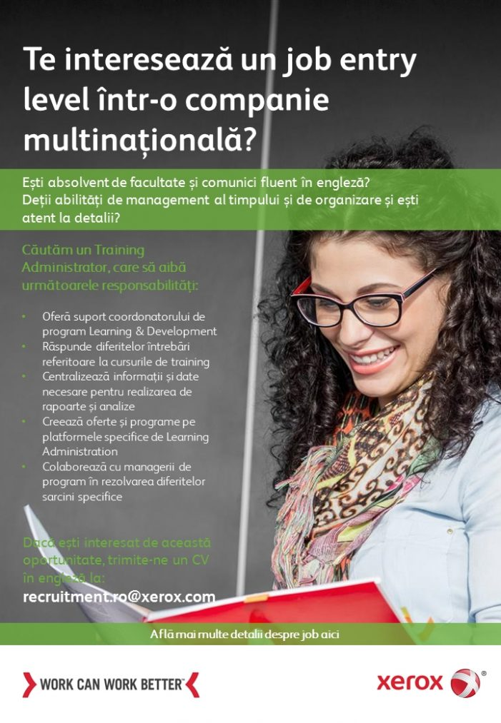 Xerox angajează Training Administrator (HR Assistant)