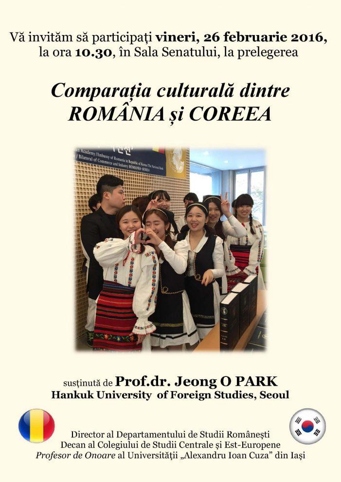 """Prof. univ. dr. Jeong O PARK va susține prelegerea """"Comparația culturală dintre România și Coreea"""""""