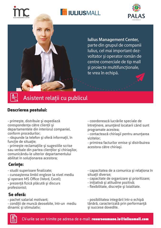 Iulius Management Center angajează Asistent relații cu publicul