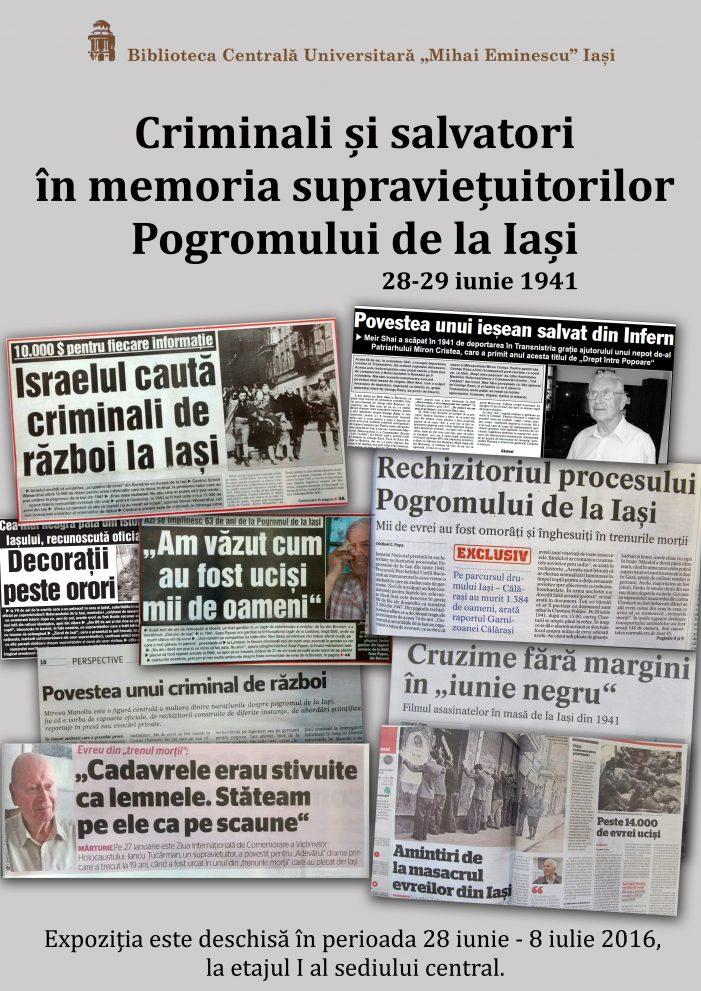 Expozitia de carte Criminali si salvatori in memoria supravietuitorilor Pogromului de la Iasi, la BCU Iasi