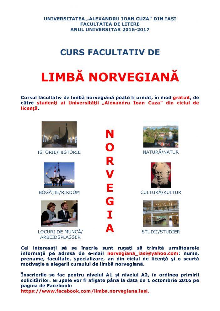 Cursuri facultative de limbă, cultură și civilizație norvegiană la facultatea de Litere