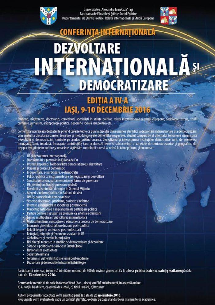 """Conferința internațională """"Dezvoltare internațională și democratizare"""", ediția a IV-a"""