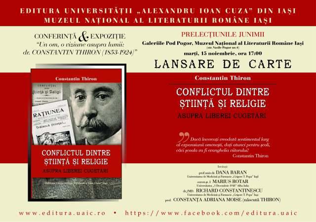 """Lansare de carte: """"Conflictul dintre Știință și Religie. Asupra liberei cugetări"""" de Constantin Thiron"""