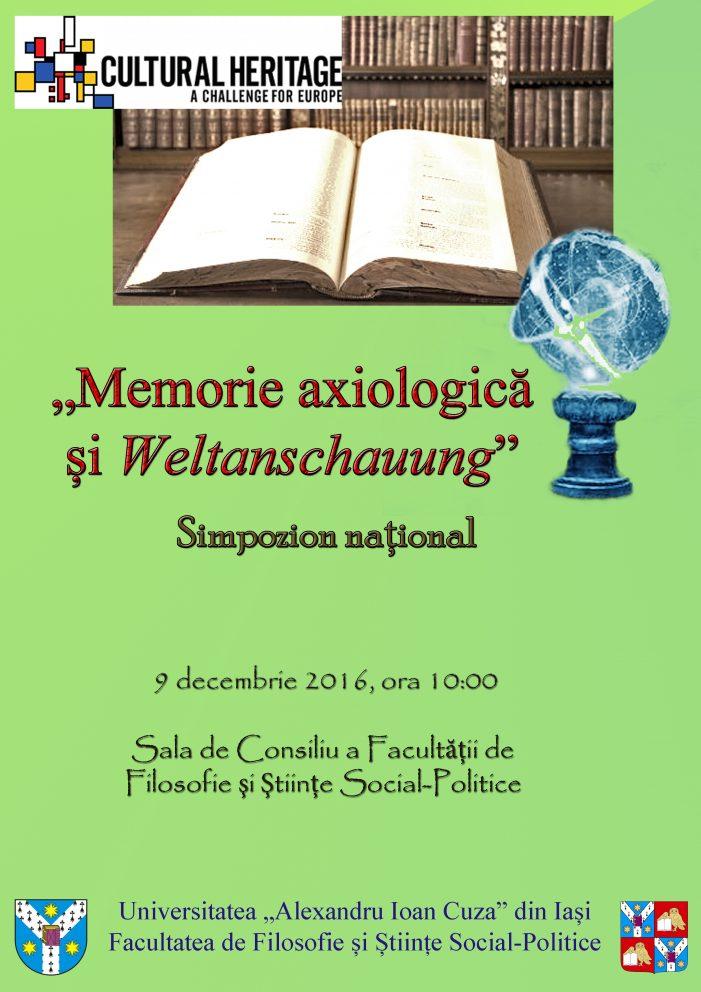 "CALL FOR PAPERS: Simpozion ""Memorie axiologică şi Weltanschauung"""