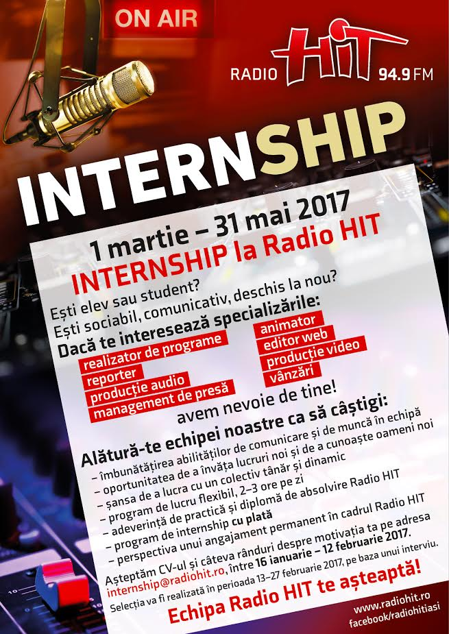 Intership plătit la Radio Hit