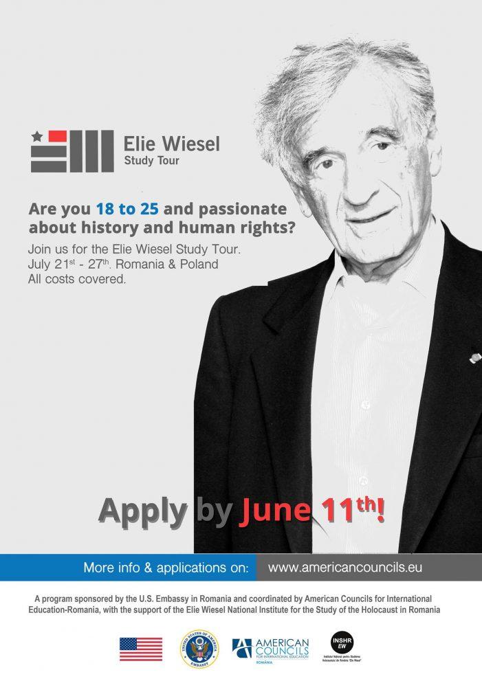Ambasada SUA oferă 25 de burse pentru Elie Wiesel Study Tour