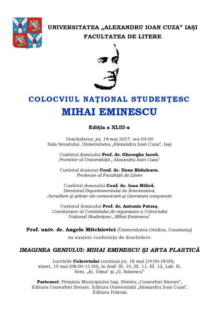 """Colocviul Naţional Studenţesc """"Mihai Eminescu"""", Ediţia a XLIII-a"""
