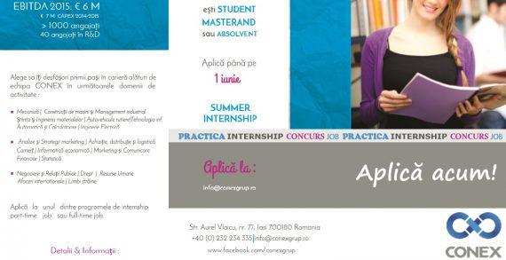 Grupul Conex anunță programul Summer Internship