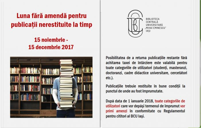 Luna fără amendă pentru publicaţiile nerestituite la timp, la BCU Iaşi