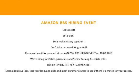 Amazon organizează un eveniment de recrutare