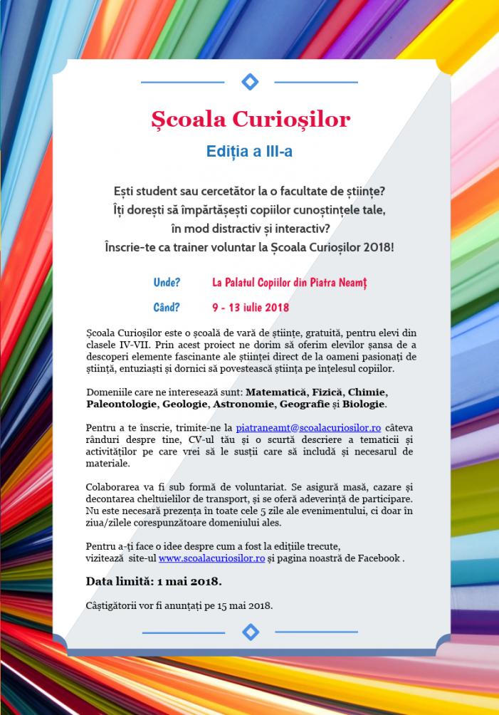 Studenți și cercetători voluntari pentru Școala Curioșilor, ediția a III-a