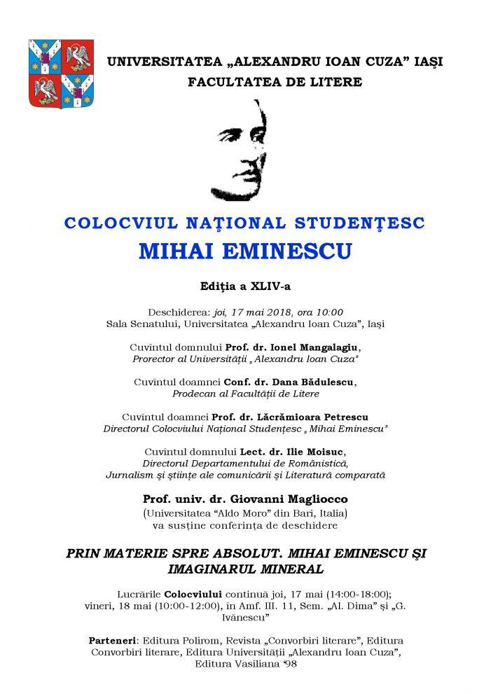 """Colocviul Naţional studenţesc """"Mihai Eminescu"""","""