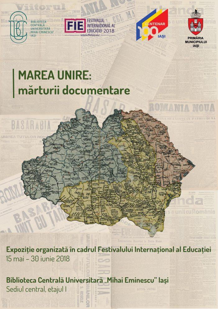 """Expoziţia """"MAREA UNIRE: MĂRTURII DOCUMENTARE"""" la BCU"""