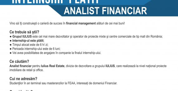 Internship plătit ca Analist Financiar în cadrul Grupului IULIUS