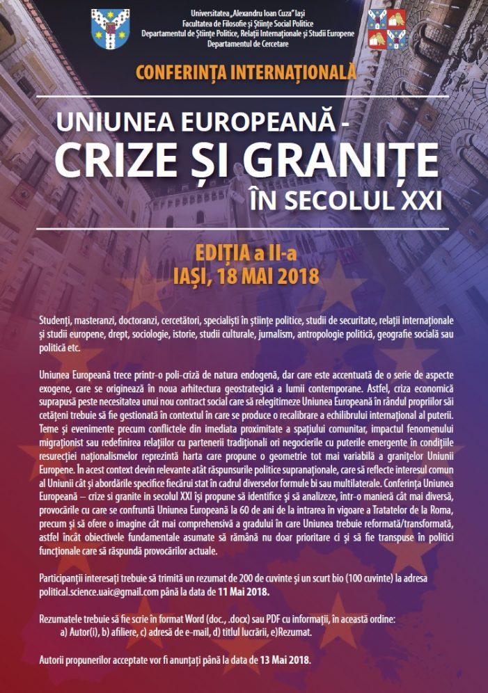 """Conferința internațională """"Uniunea Europeană – crize și granițe în secolul XXI"""", Ediția a II-a"""