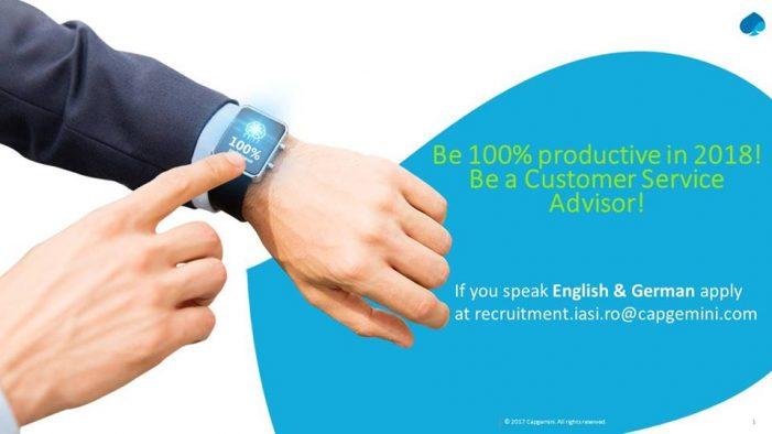 Capgemini recrutează pentru poziția de Customer Service Advisor