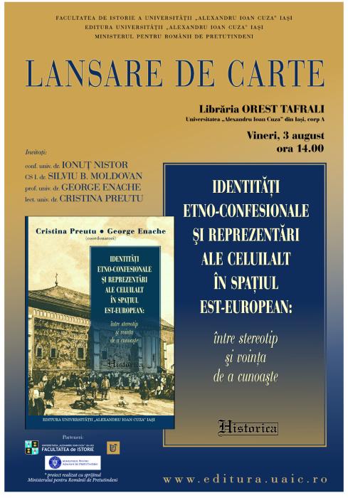 """Lansarea volumului """"Identități etno-confesionale și reprezentări ale Celuilalt în spațiul est-european"""" la Librăria Tafrali"""