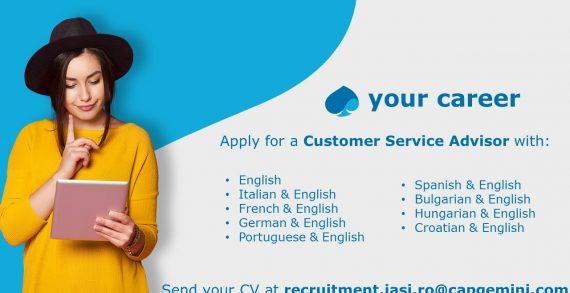 Capgemini pune la dispoziție oportunități de dezvoltare în cadrul companiei pe poziția de Customer Service Advisor