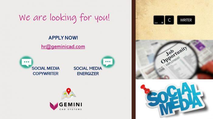 Gemini CAD Systems recrutează Specialist Social Media – Coordonator și Energizer
