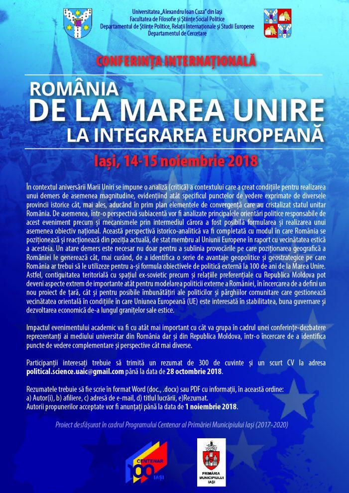 """Conferința internațională """"România – de la Marea Unire la integrarea europeană"""""""