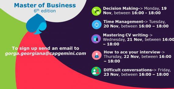 Capgemini organizează programul de training Master of Business