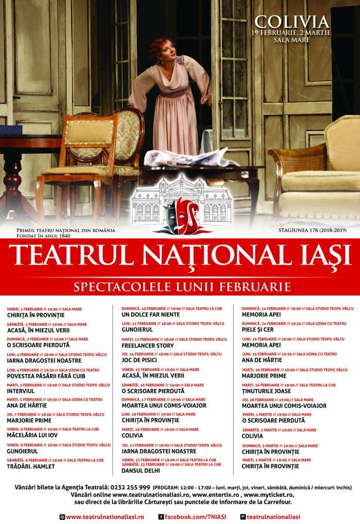 Spectacolele lunii februarie la Teatrul Național Iași