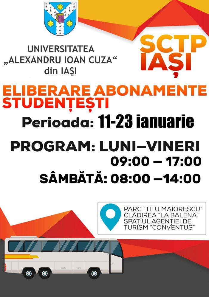 Calendarul eliberării adeverințelor pentru abonamentele studențești