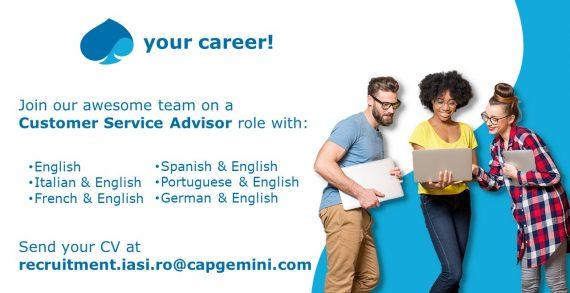Capgemeni recruteză Customer Service Advisor