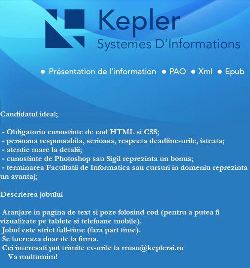 Kepler angajează Epub Developer și Operator limba franceză