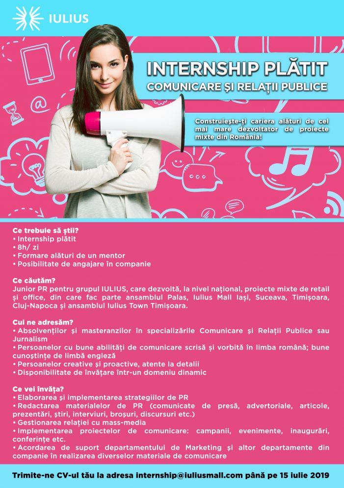 Internship plătit în Comunicare și Relații Publice la IULIUS Group