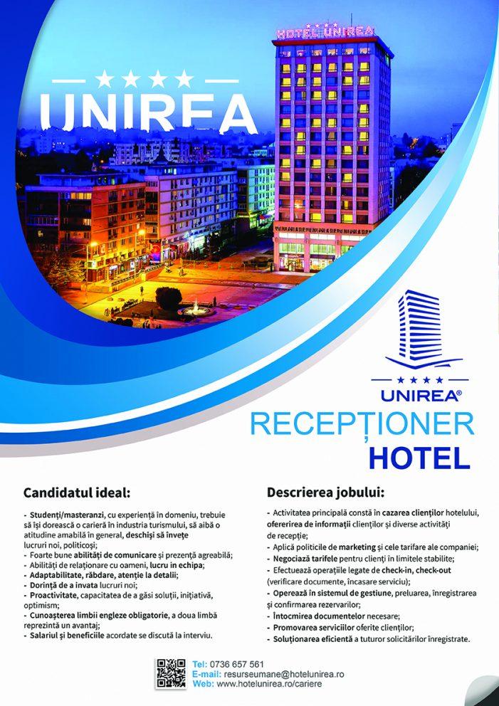 Hotel Unirea angajează Recepționer